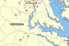 Mapa útoků washingtonského ostřelovače (v chronologickém pořadí).